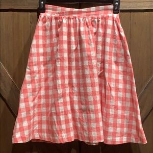 Modcloth pink and white checked A line skirt, Sz M